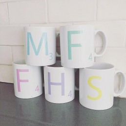 pastel monogram mug